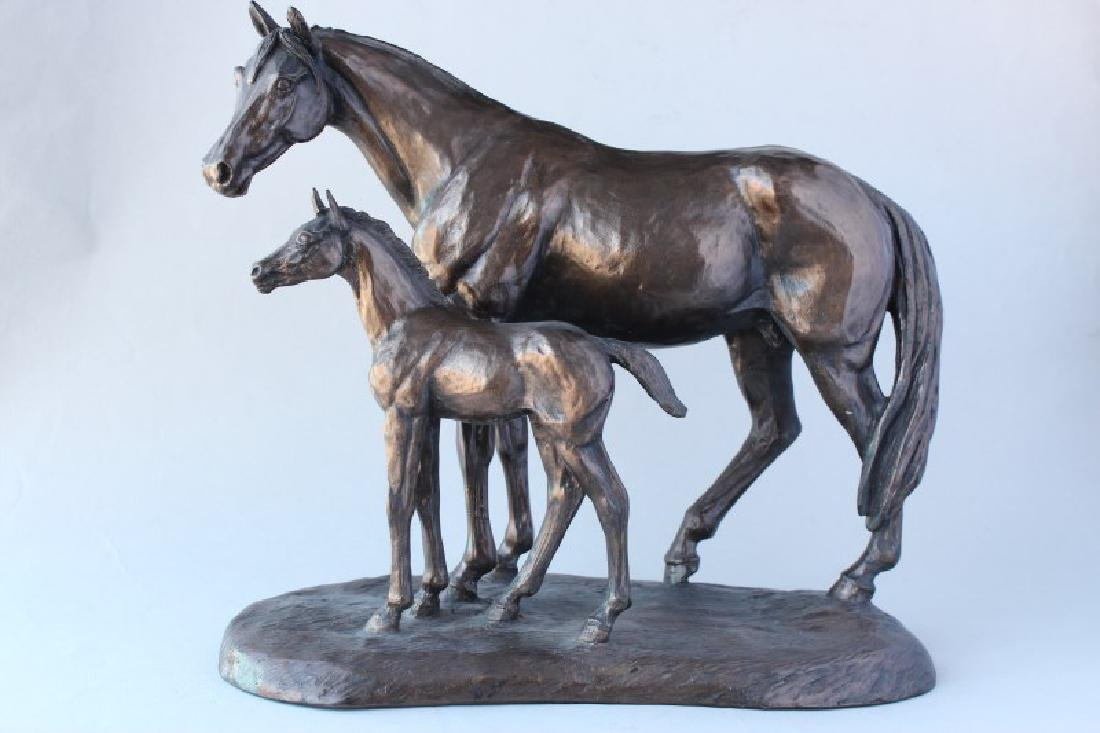 "Cast Bronze Figure Group ""Mare and Foal"","