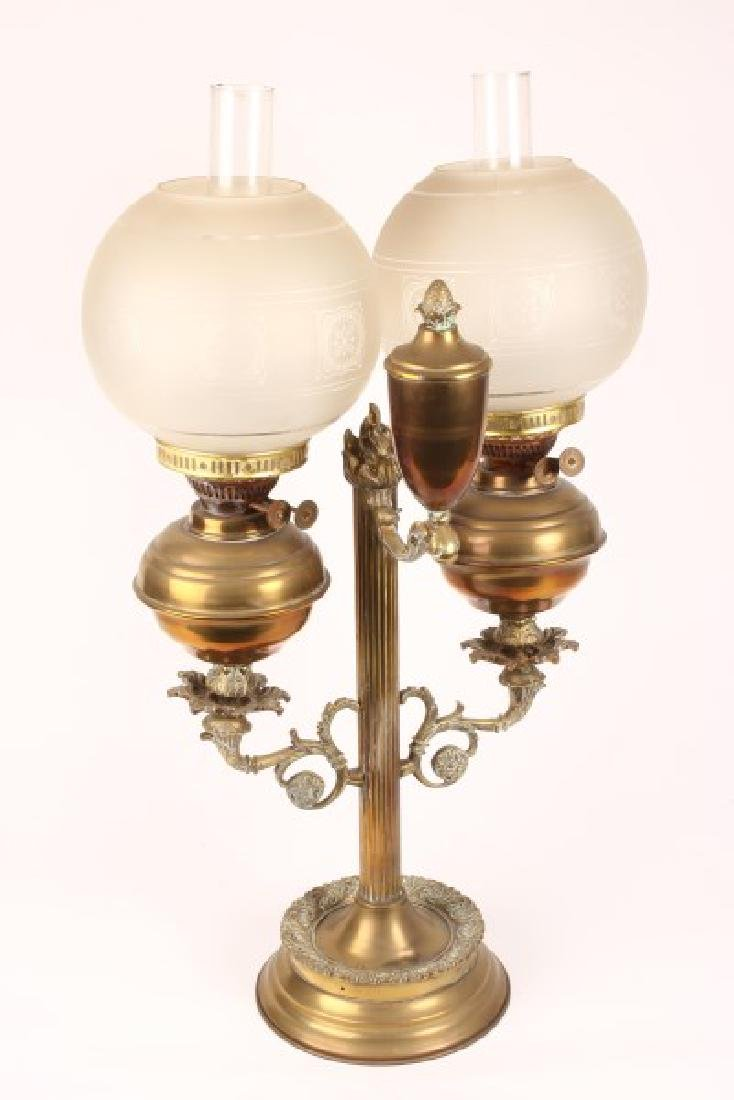 Late Victorian Student Double Oil Lamp,