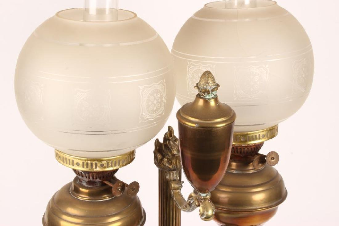 Late Victorian Student Double Oil Lamp, - 2