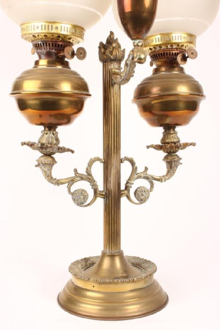 Late Victorian Student Double Oil Lamp, - 3