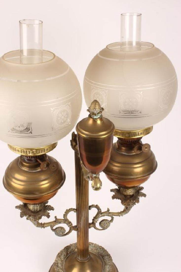 Late Victorian Student Double Oil Lamp, - 4