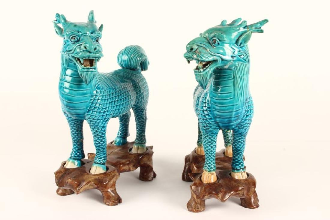 Pair of Chinese Foo Dogs, - 3