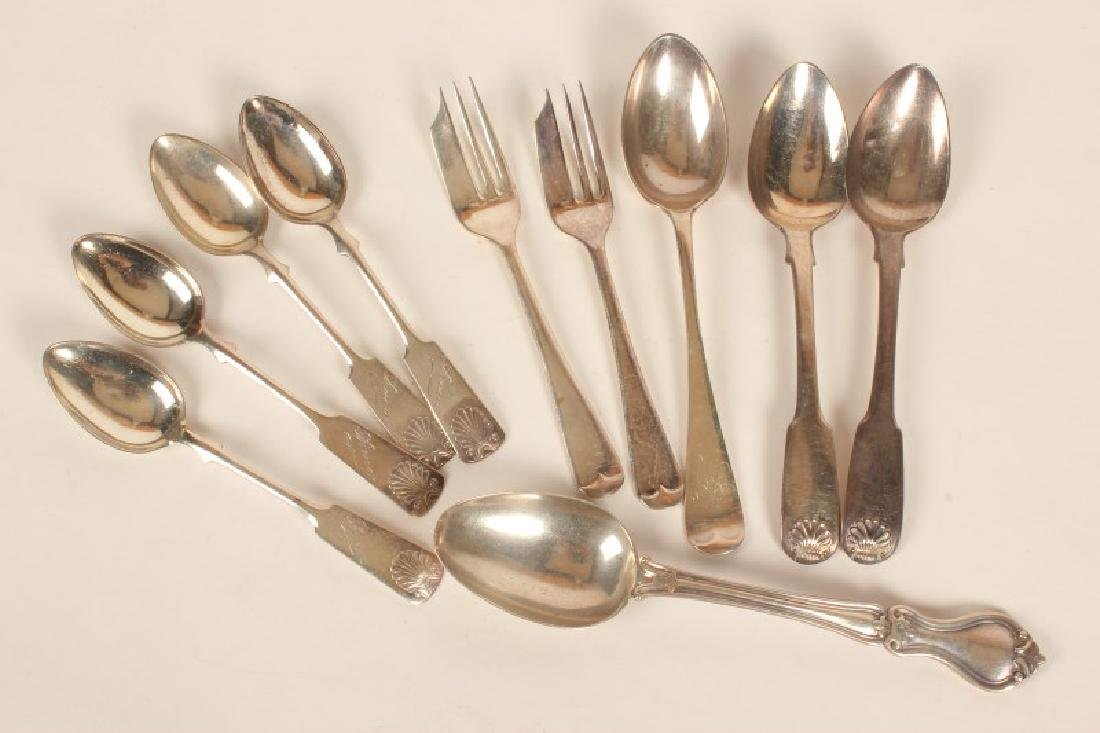Group of Assorted Silver Teaspoons, - 2