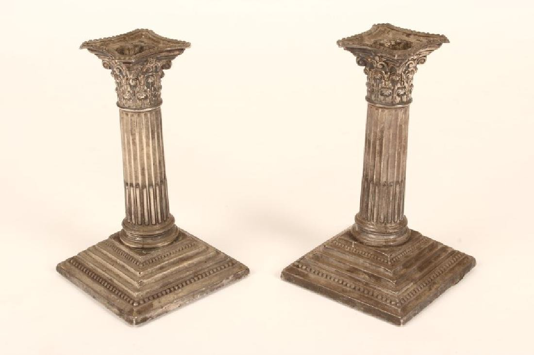 Pair of Edwardian Sterling Silver Candlesticks,