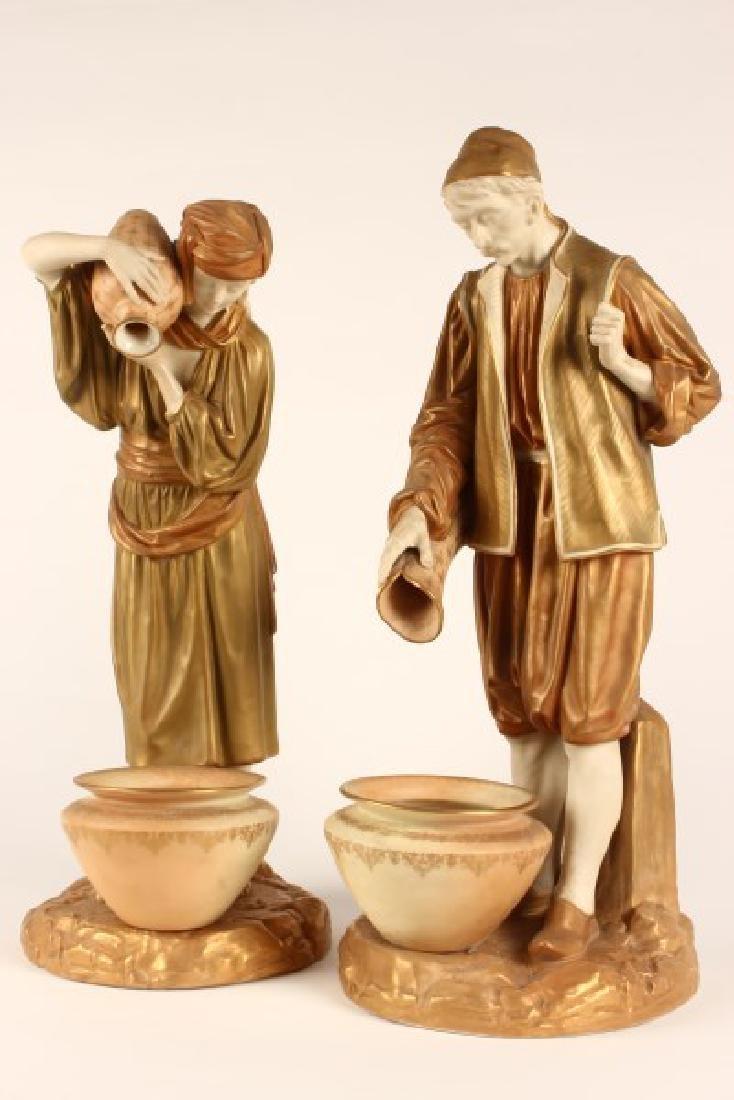 Pair of Large Royal Worcester Porcelain Figures,