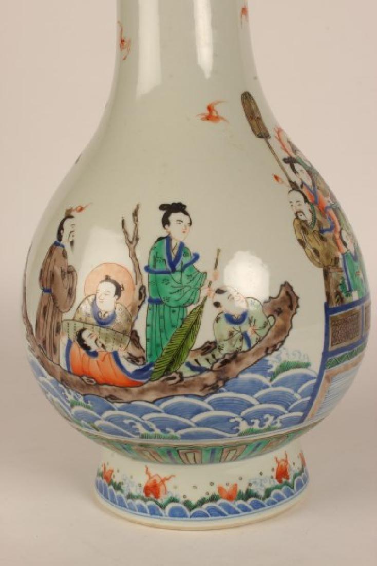 Chinese Famille Vert Porcelain Vase, - 2
