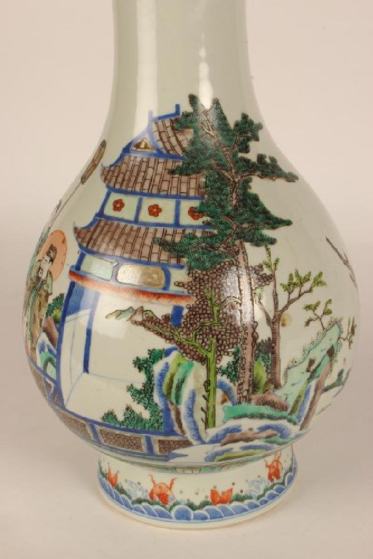 Chinese Famille Vert Porcelain Vase, - 3