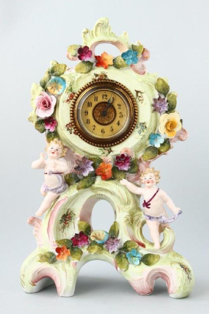 Austrian Porcelain Mantle Clock,