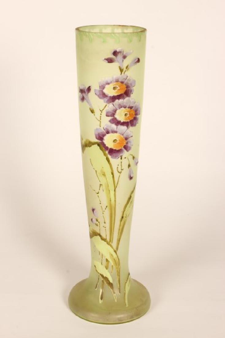 Art Nouveau Painted Glass Vase,