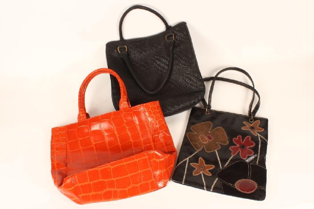 Three Large Ladies Leather Handbags,