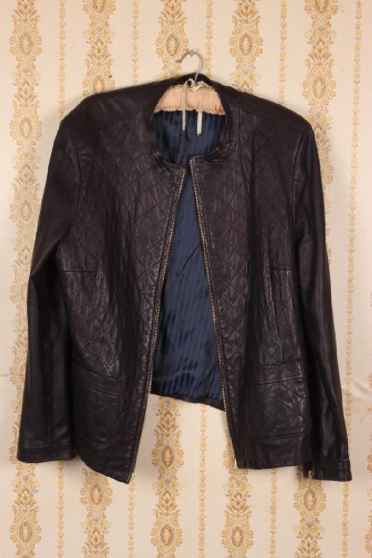 Perri Cutten Navy Leather Jacket,