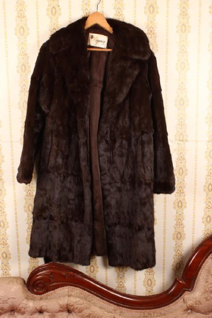 Full Length Belted Rabbit Fur Coat,