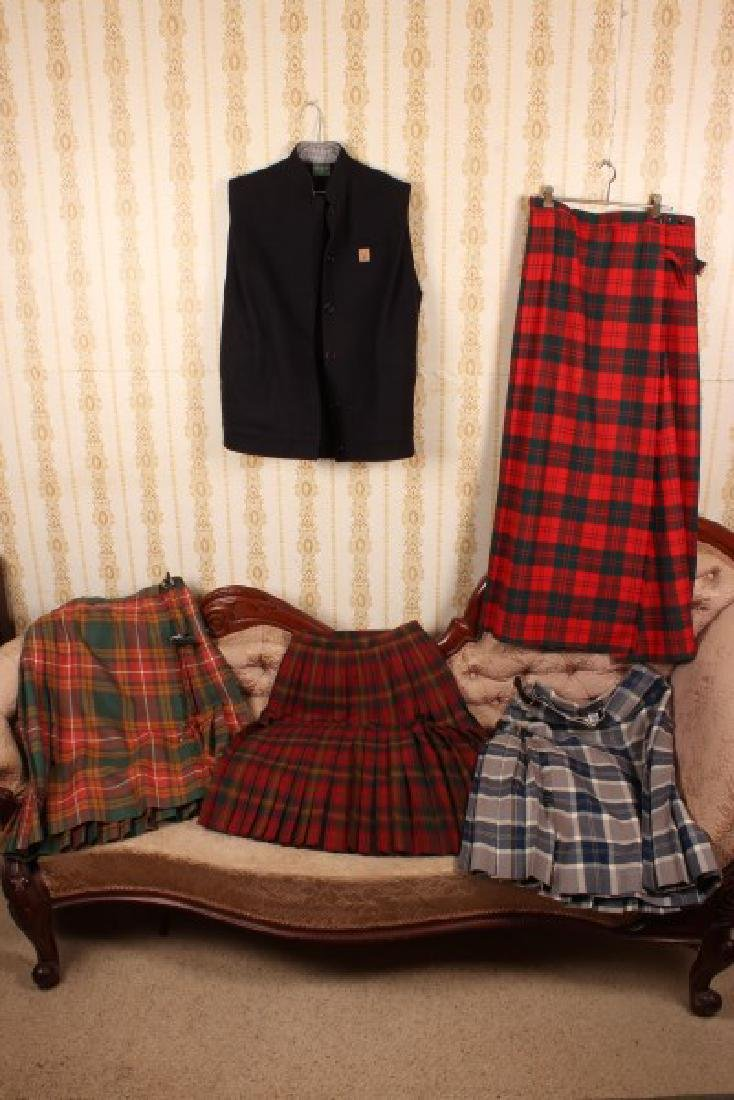 Four Ladies Pure Wool Tartan Kilts,