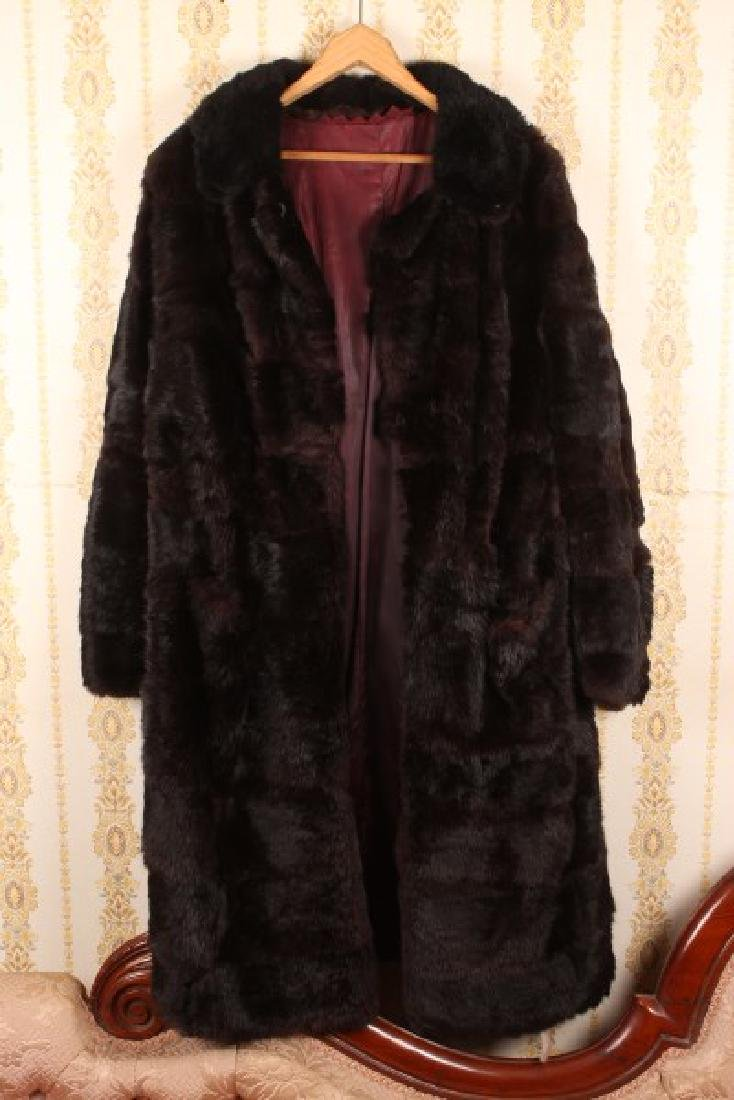 Ladies Full Length Black Rabbit Skin Coat,