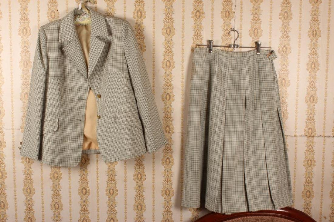 Dereta Green Checked Skirt and Jacket,