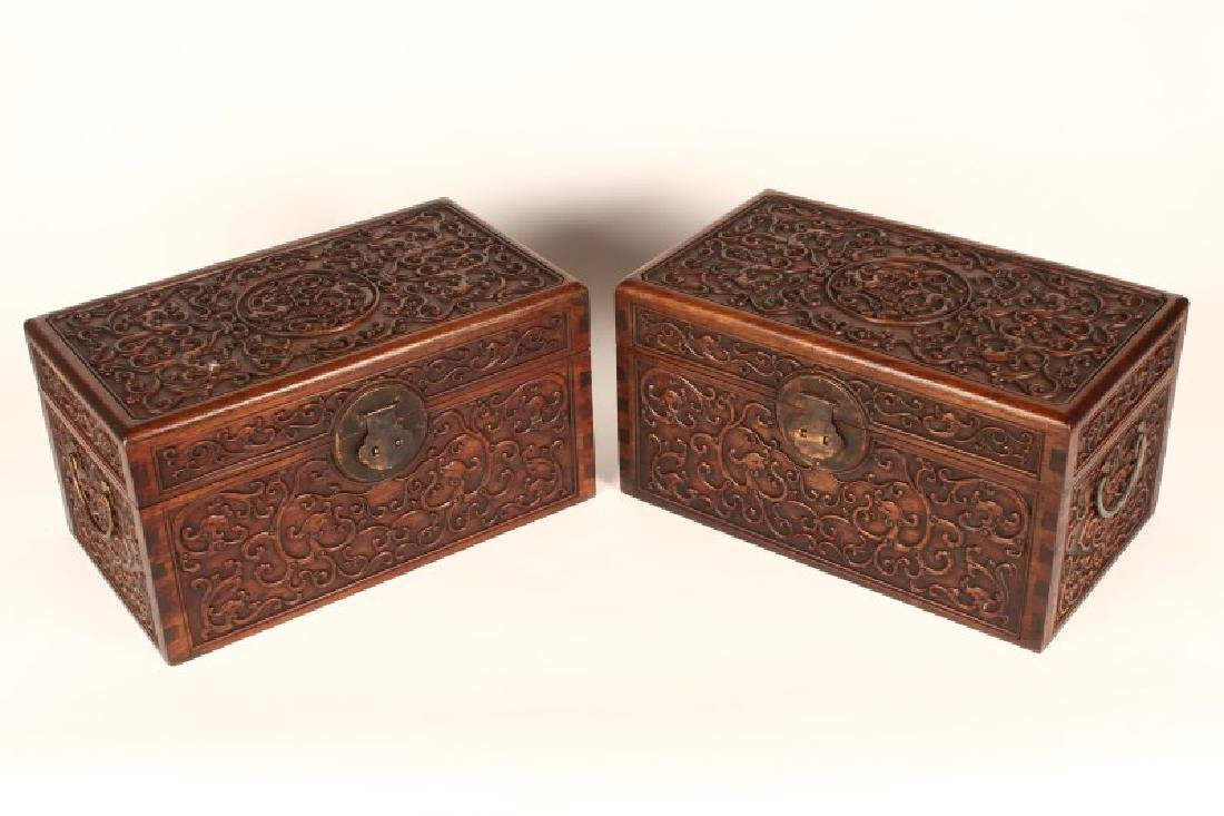 Pair of Chinese Wooden Jewelry Chests,