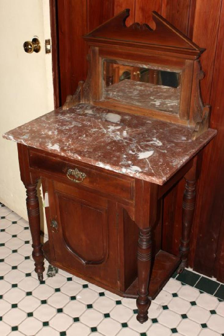 Arts and Crafts Marble Top Wash Stand,