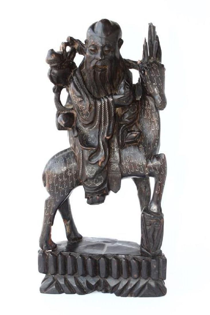 Chinese Carved Wooden Figure Group,