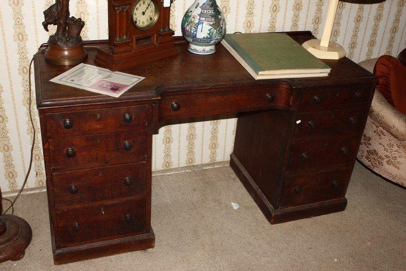 Edwardian Oak Double Pedestal Desk,