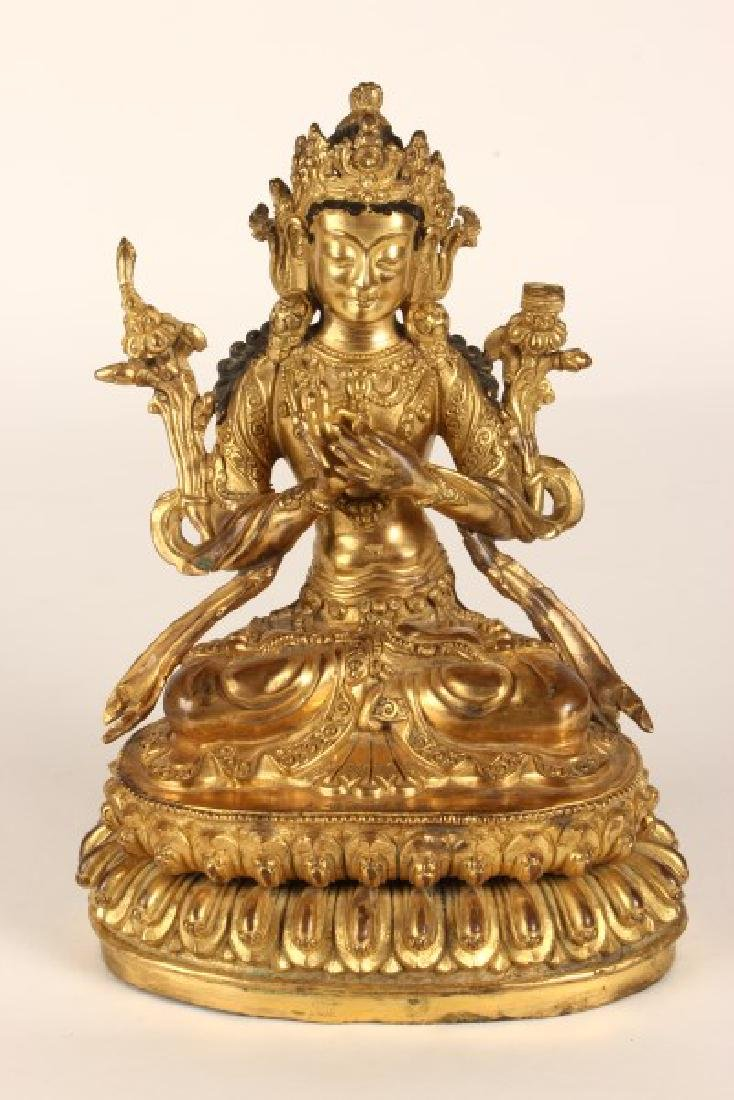 Chinese Gilt Bronze Figure of Bodhisattva,