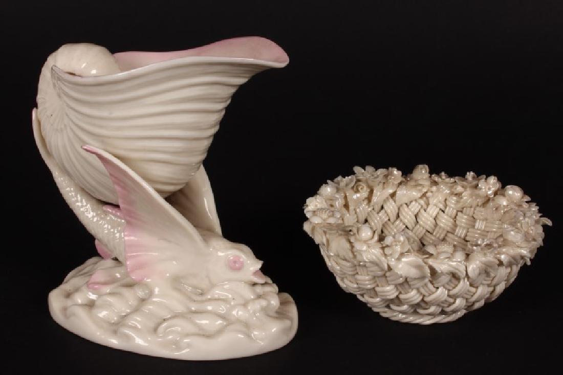Belleek Porcelain Cornucopia Vase,