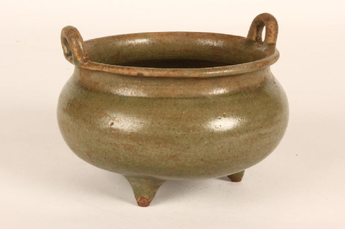 Chinese Celadon Twin Handled Censor,