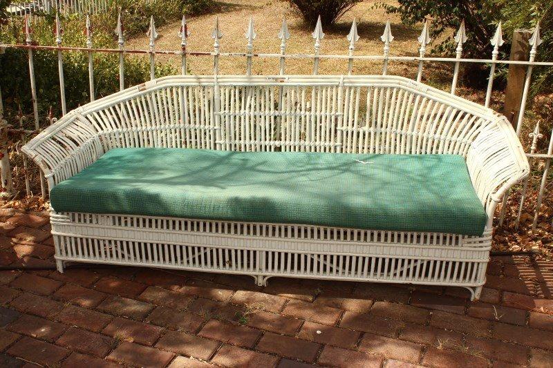 White Cane Sofa,