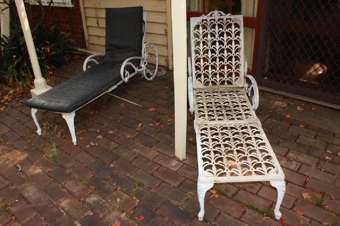 Two Outdoor Metal Reclining Lounges,