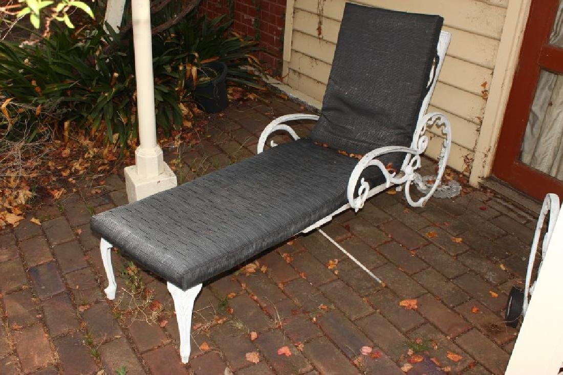 Two Outdoor Metal Reclining Lounges, - 2