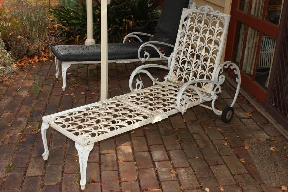 Two Outdoor Metal Reclining Lounges, - 3