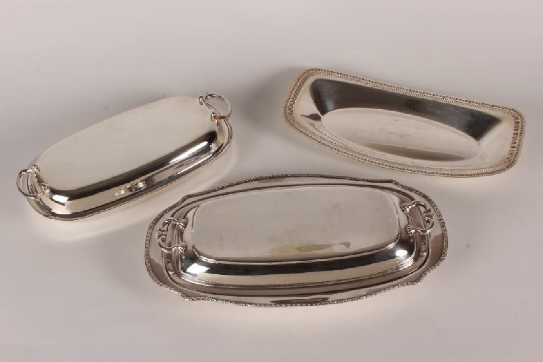 Two Silver Plate Entree Dishes and Covers,