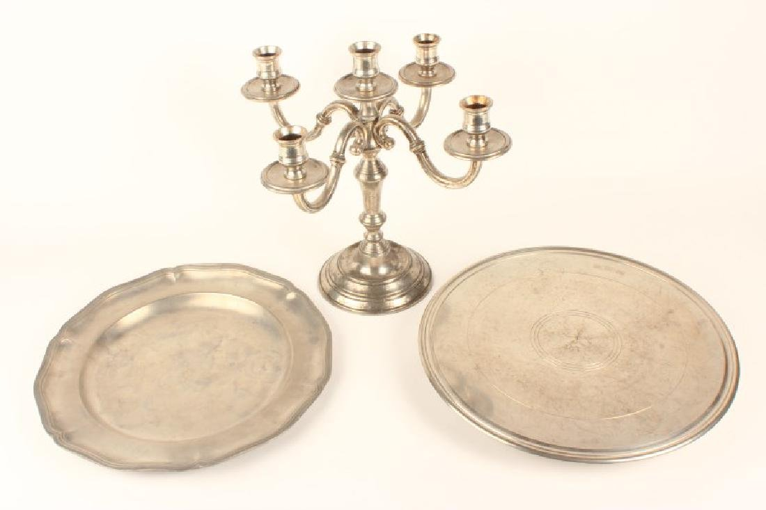 18th Century Pewter Four Branched Candelabra,