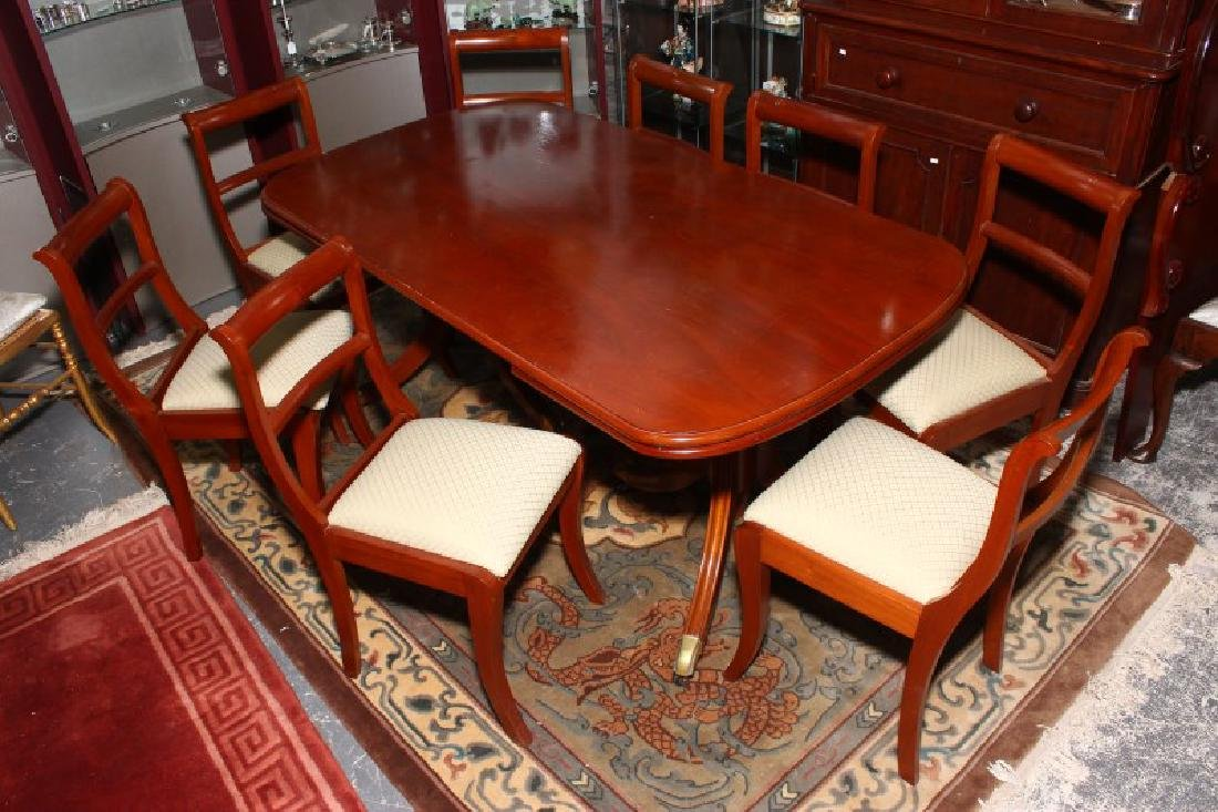 Regency Style Dining Table and Eight Chairs,