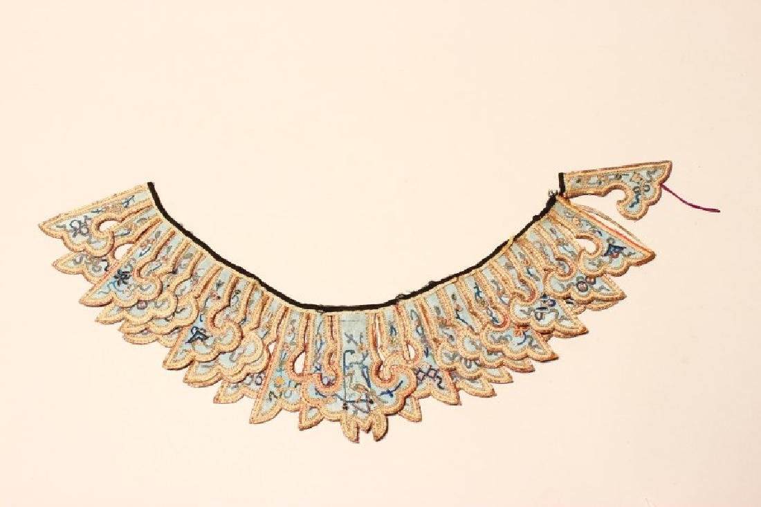 Chinese Embroidered Qing Dynasty Collar, - 3