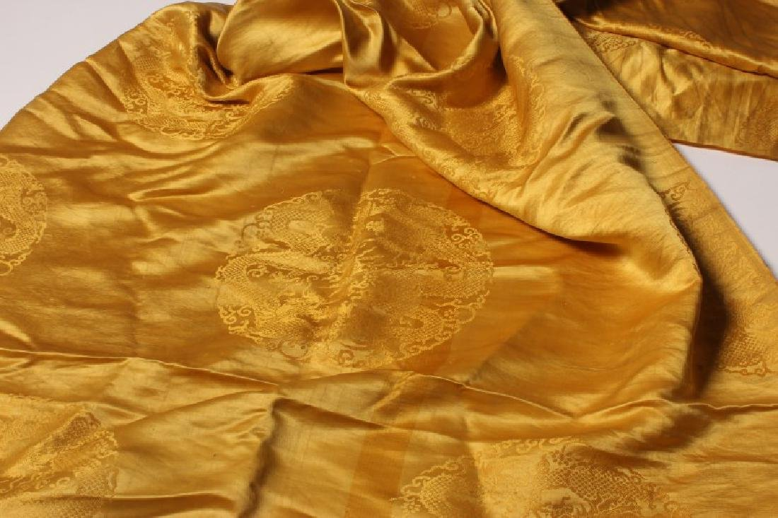 Chinese Late Qing Dynasty Yellow Brocade Silk, - 2