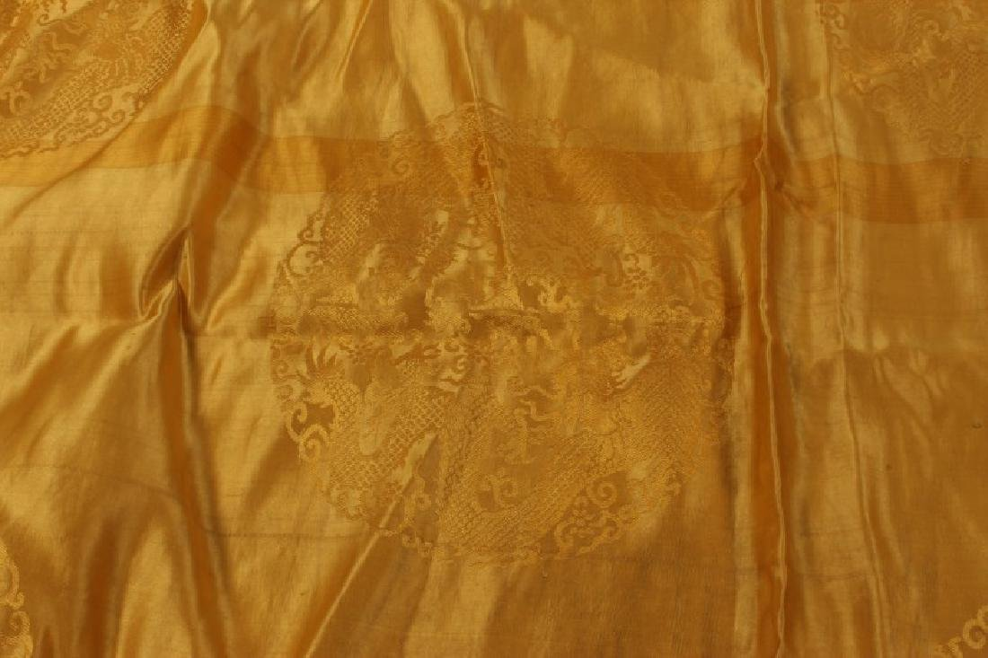 Chinese Late Qing Dynasty Yellow Brocade Silk, - 3