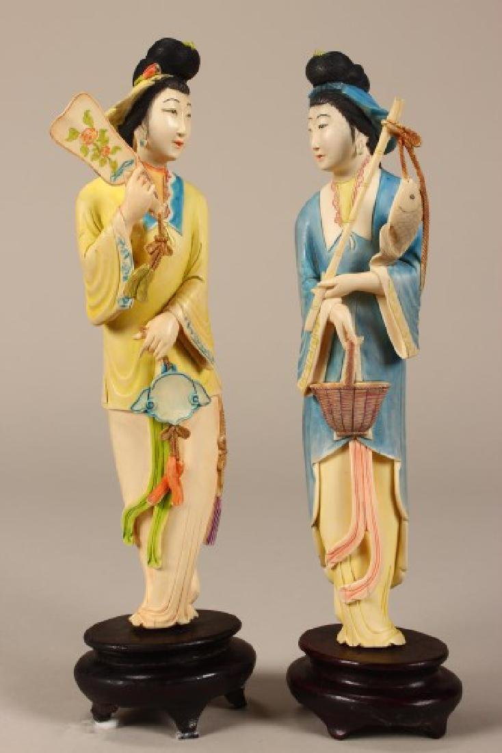 Pair of Chinese Carved Figures,