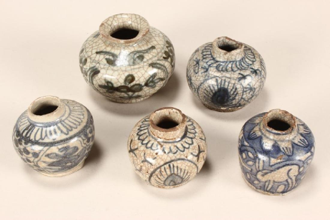 Five Chinese Blue and White Ming Dynasty Jarlets,