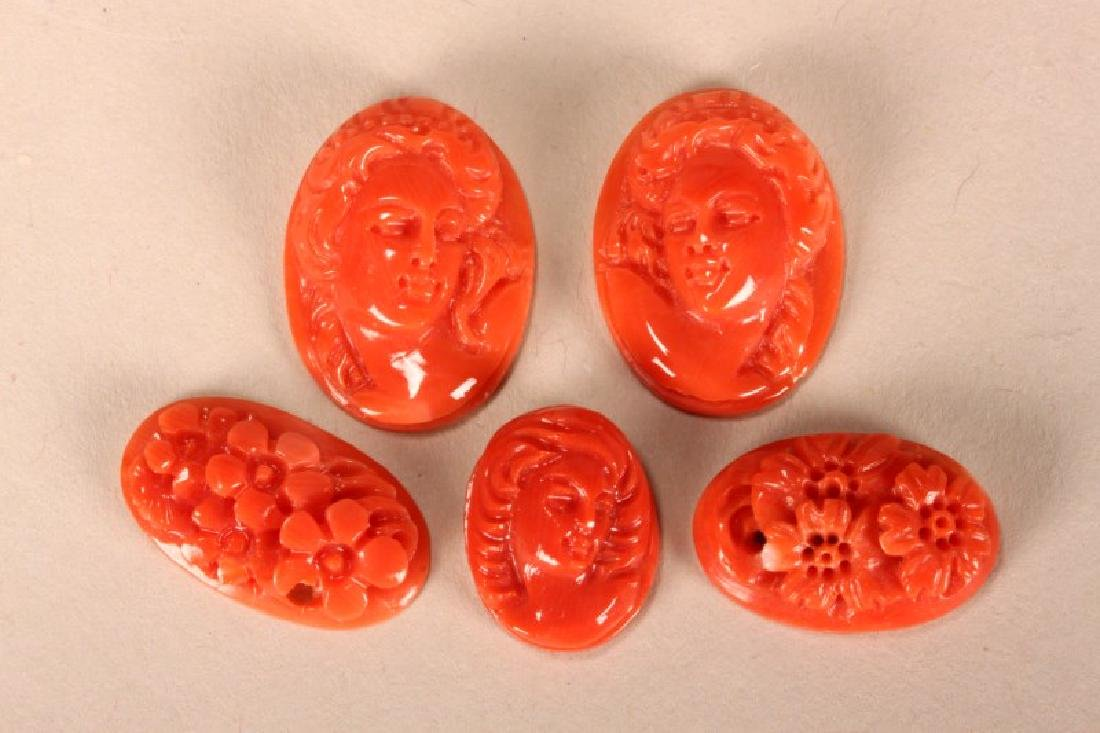 Five Carved Coral Cameos,