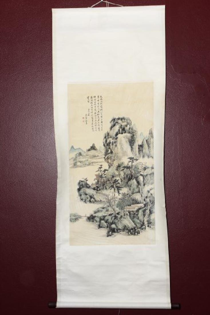 Chinese Scroll Picture Of An Idyllic Landscape