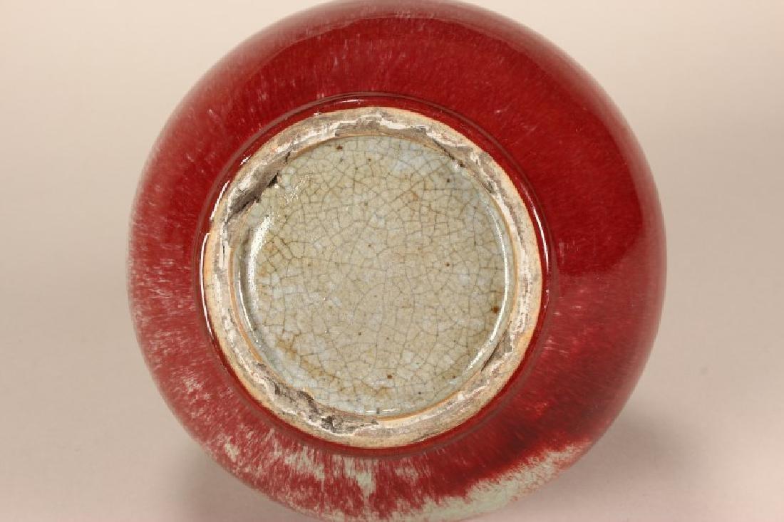 Chinese Peach Blossum Glazed Vase - 3