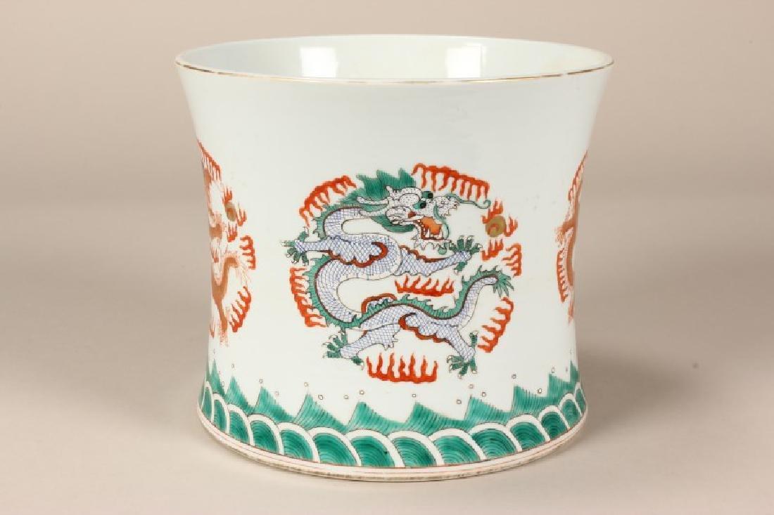 Chinese Famille Vert Brush Pot,