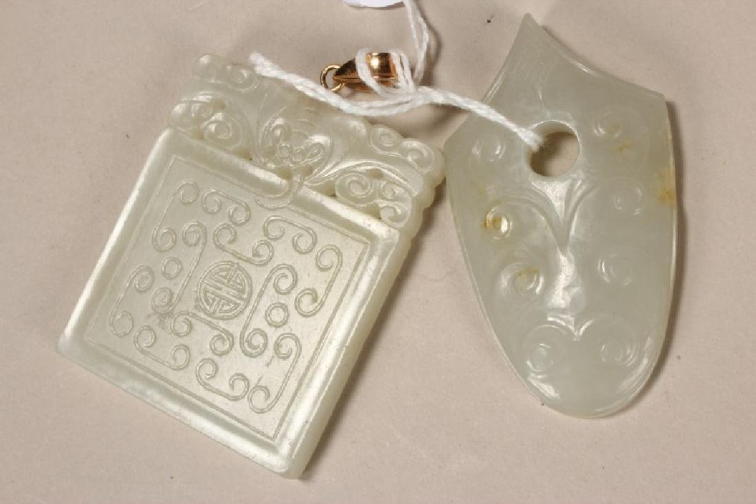 Two Chinese Carved Jade Plaques,