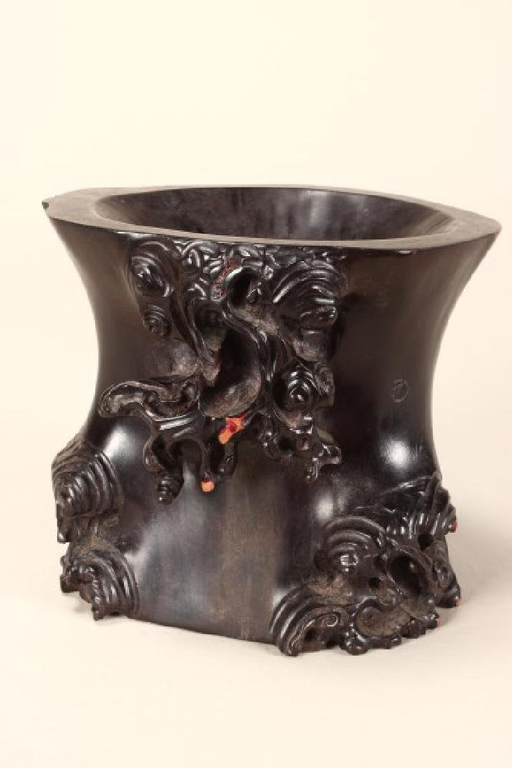 Chinese Carved Wooden Brush Pot,