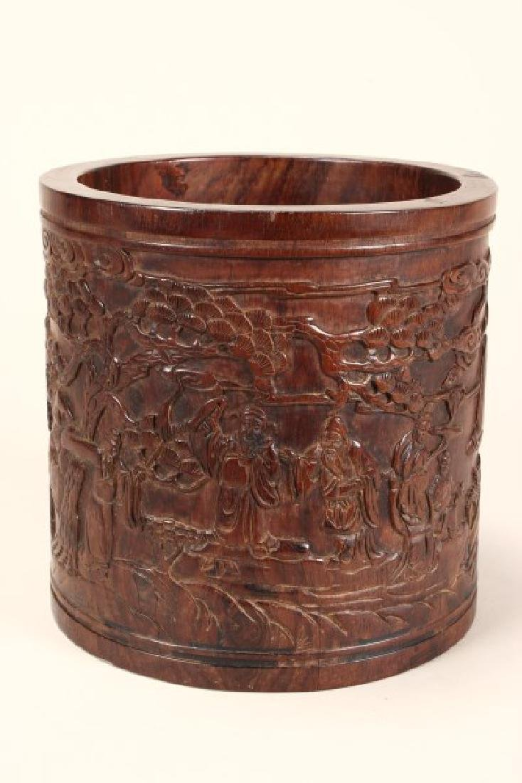 Large Chinese Wooden Brush Pot,