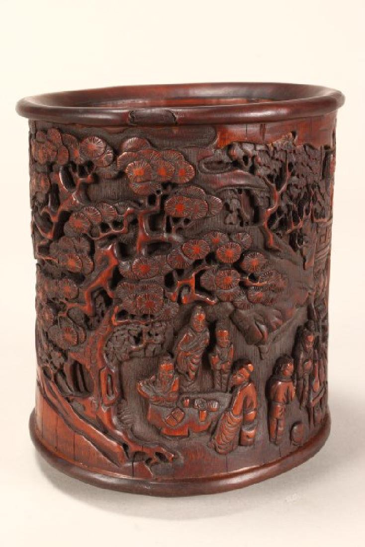 Chinese Carved Bamboo Brush Pot,