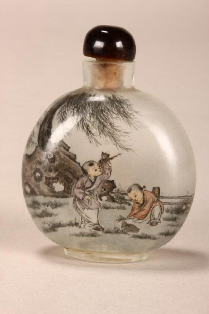 Chinese Inside Painted Snuff Bottle and Stopper, - 2