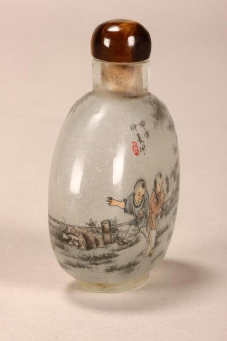 Chinese Inside Painted Snuff Bottle and Stopper, - 3