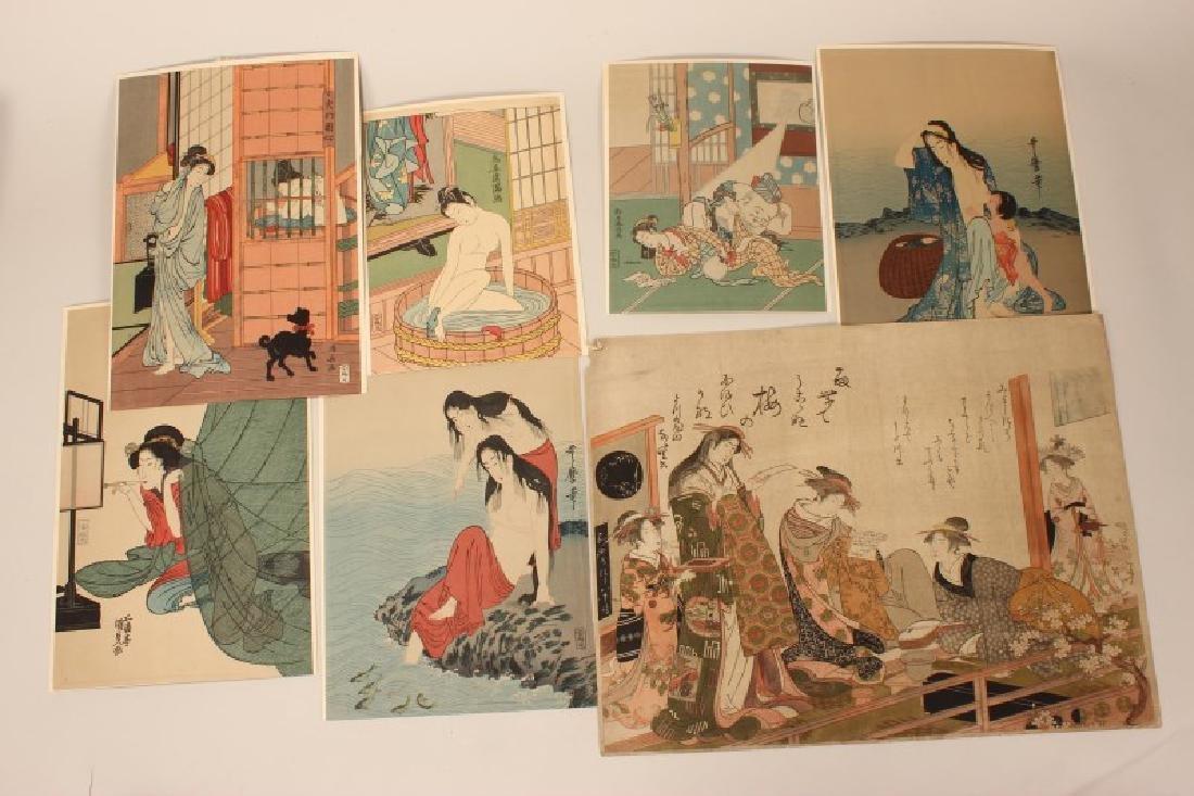 Seven Japanese Woodblock Prints
