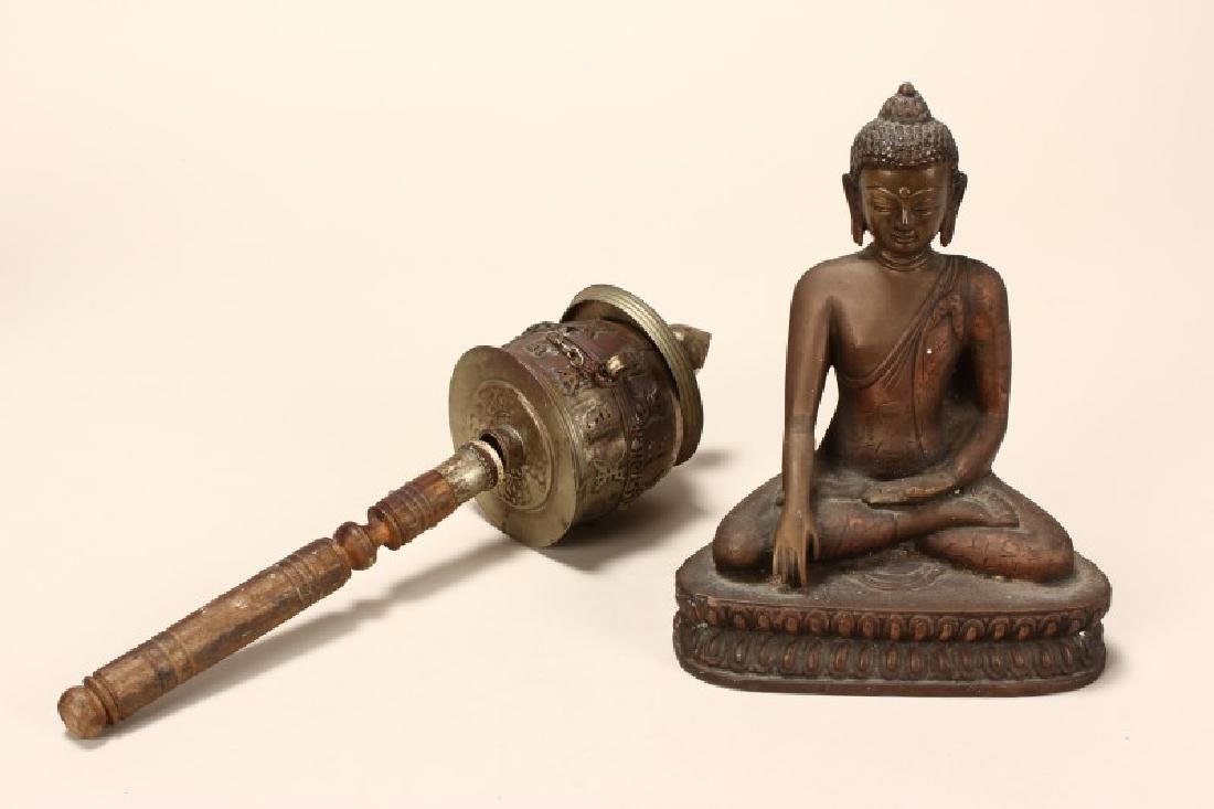 Seated Buddha in Brass With Copper Inlay